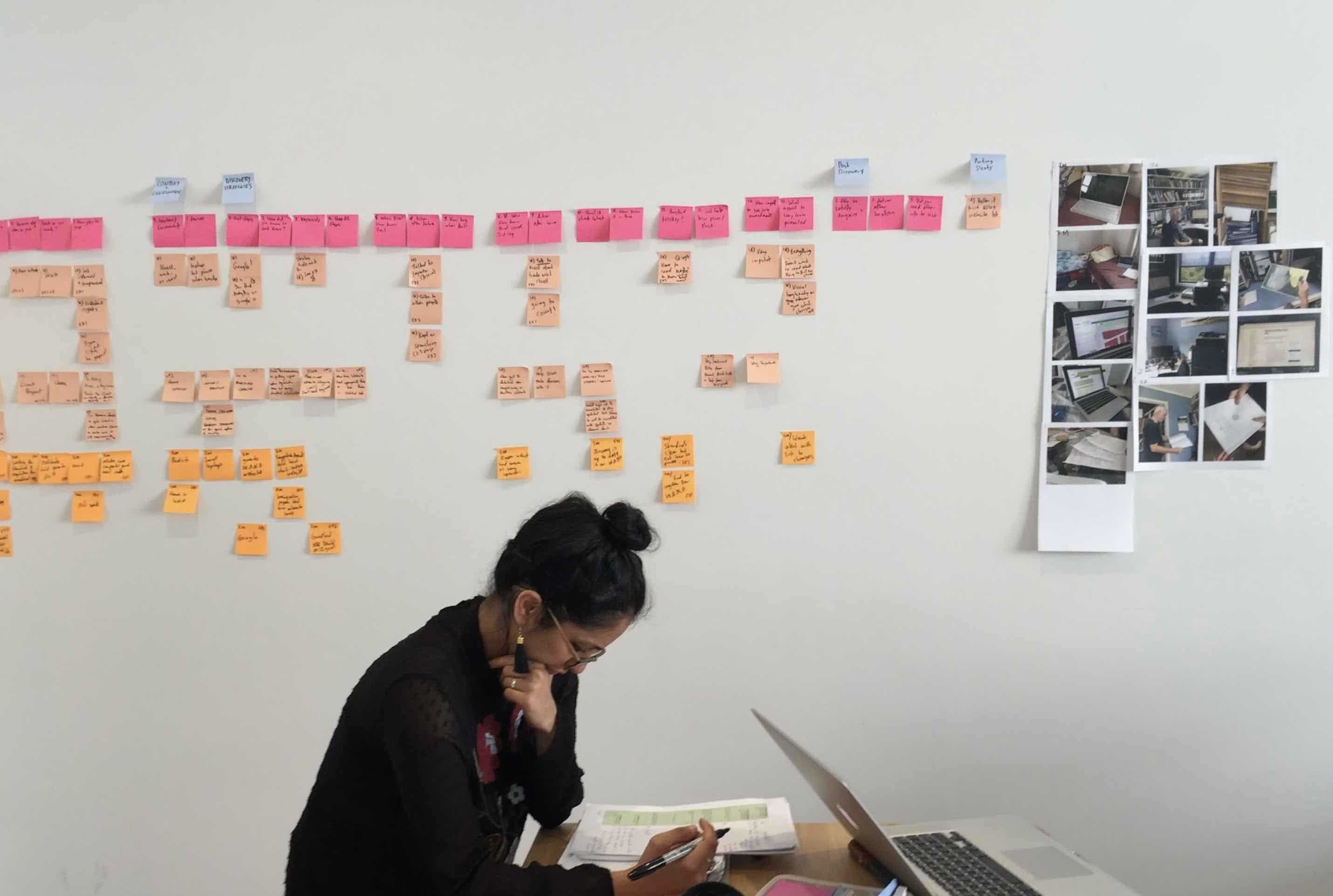 Person analysing research in design studio